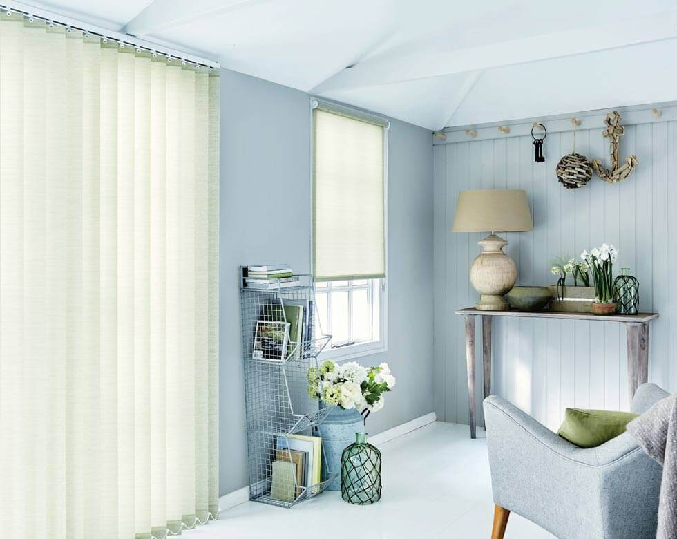 a large size image of wooden vertical blinds from comfort blinds