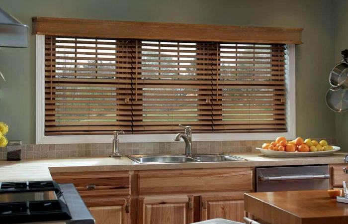 a photo of a Made to Measure Wooden Blinds in a kitchen from comfort blinds